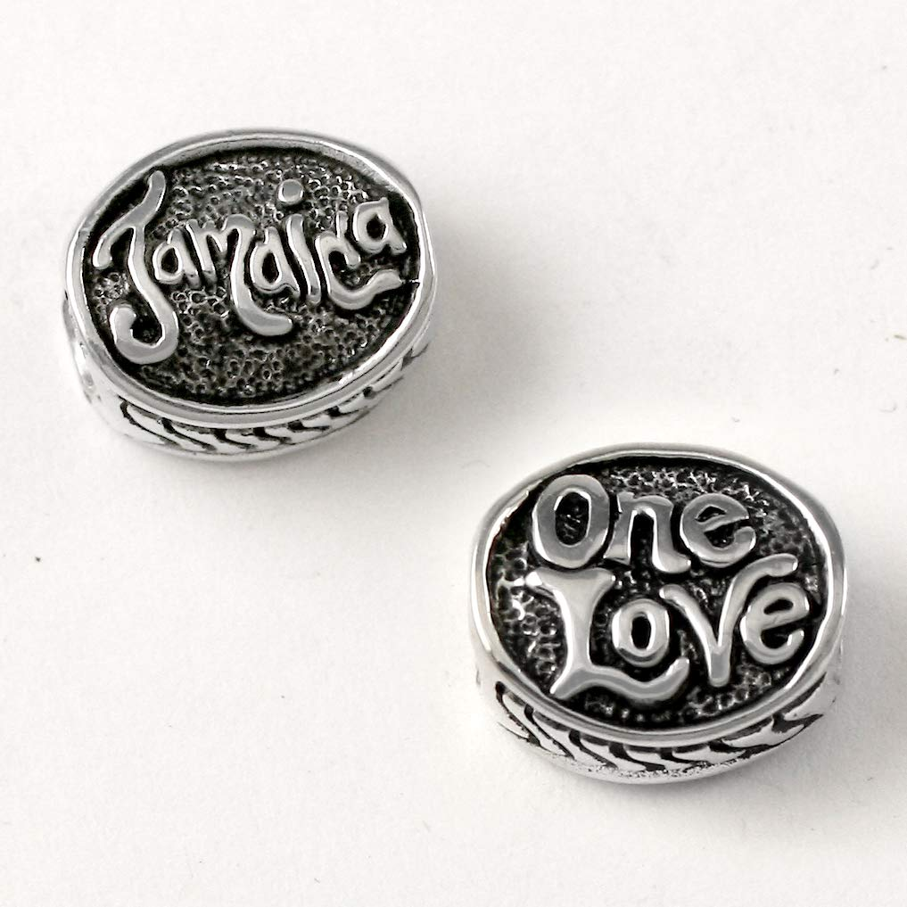 B07G9RJMVL Jamaica - One Love Charm Bead - Sterling Silver Charm Fits Bracelets like Pandora - Perfect Vacation Souvenir and Gift 61cMEKphLCL