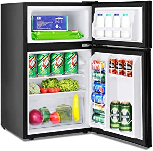 Mini Compact Refrigerator, Safeplus 3.2 cu ft. Unit Cold-rolled Sheet Mini Refrigerator with freezer, Dorm fridge with Adjustable Removable Shelves