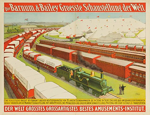 Barnum and Bailey - 70 Railway Cars Vintage Poster USA c. 1899 (36x54 Giclee Gallery Print, Wall Decor Travel Poster) ()