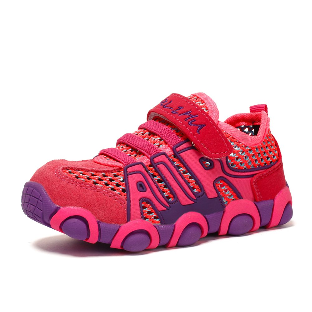 JINDENG Boys Girls Running Shoes Breathable Mesh Casual Sneakers Light Weight School Sport Walking Shoes(Pink,28)