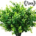 ElaDeco Artificial Boxwood (Pack of 7),Artificial Farmhouse Greenery Boxwood Stems Fake Plants and Greenery Springs for Farmhouse,Home,Garden,Office,Patio,Wedding and Indoor Outdoor Decoration
