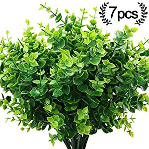 ElaDeco Artificial Boxwood (Pack of 7),Artificial Farmhouse Greenery Boxwood Stems Fake Plants and Greenery Springs for Farmhouse,Home,Garden,Office,Patio,Wedding and Indoor Outdoor Decoration 21