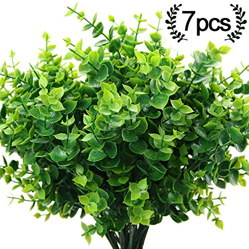 ElaDeco Artificial Boxwood (Pack of 7),Artificial Farmhouse Greenery Boxwood Stems Fake Plants and Greenery Springs for Farmhouse,Home,Garden,Office,Patio,Wedding and Indoor Outdoor Decoration -
