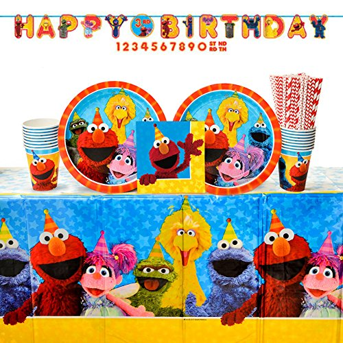Sesame Street Party Supplies Pack for 16 Guests: Straws, Dinner Plates, Luncheon Napkins, Cups, Table Cover, and Banner]()