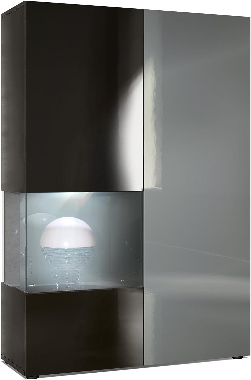 Cuerpo en Negro Mate//Puerta Derecha e inserci/ón con Apariencia de /óxido de hormig/ón con iluminaci/ón LED Vitrina C/ómoda Morena