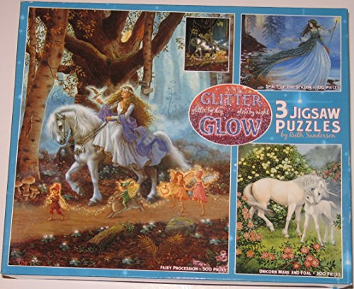 Glitter & Glow: Fairy Procession, Unicorn Mare and Foal, Spirit of the Season (3 Jigsaw Puzzles By Ruth Sanderson)