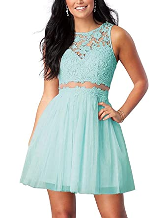Lilyla Homecoming Dresses Lace Short Juniors Prom Gowns See Through Evening Gowns 2018 Aqua US0