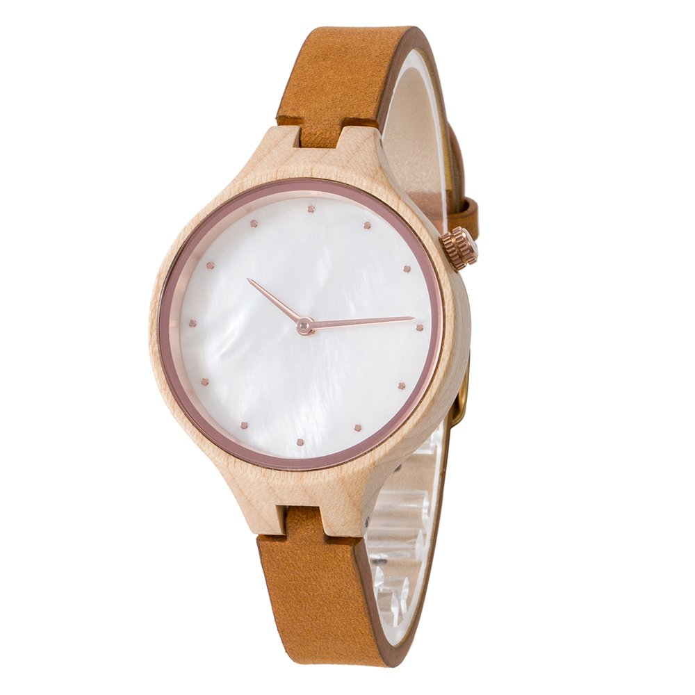 Wood Watch,Bosan Women Wrist Watch Unique Shell Face Genuine Leather Strap Stylish Analog Quartz Wooden Watch(Maple)