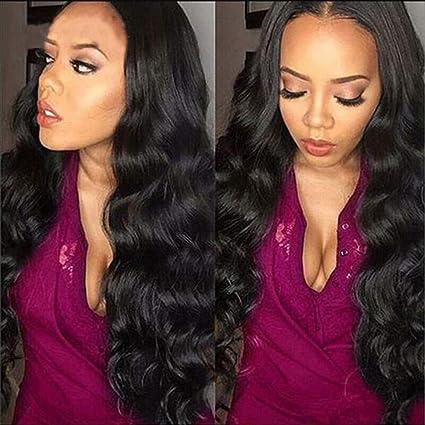 Riya Peluca de pelo humano ondulado brasileño virgen sin procesar con encaje de ondas, peluca