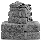 Towel Bazaar Luxury Hotel and Spa Quality Dobby Border 100% Turkish Cotton Eco-Friendly and Highly Absorbent Towel Set (Set of 6, Gray)