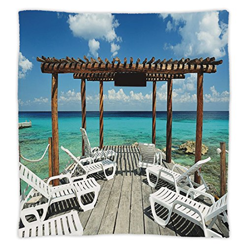 iPrint Super Soft Throw Blanket Custom Design Cozy Fleece Blanket,Travel Decor,Beach Sunbeds Ocean Sea Scenery with Wooden Seem Pier Image,Blue White and Light Brown,Perfect for Couch Sofa or ()