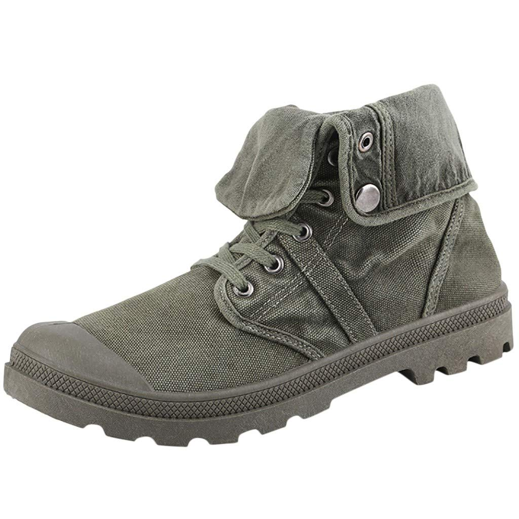 Dermanony Men's High-top Canvas Shoes Thick Bottom Boots Casual Ankle Boots Round Toe Outdoor Shoes Work Boots Army Green by Dermanony _Shoes