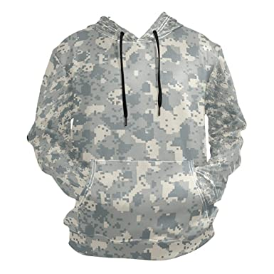 d31b887bc7cf6 Image Unavailable. Image not available for. Color: Jeffre Simp Men's Hooded  Sweatshirt Snow Camo Hunting Pullover ...