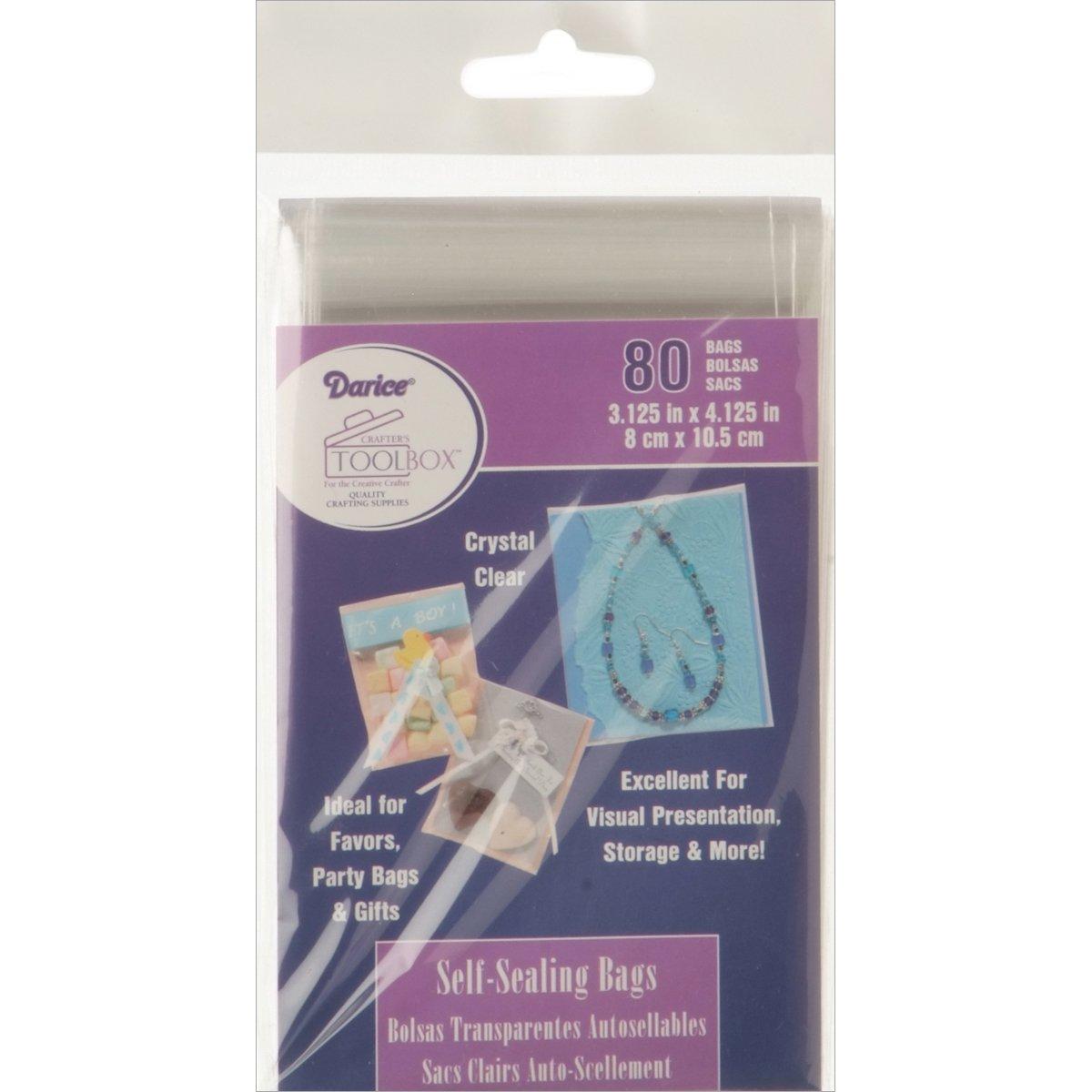 Darice Self-Sealing Bags 80/pkg-3.125'X4.125' Clear