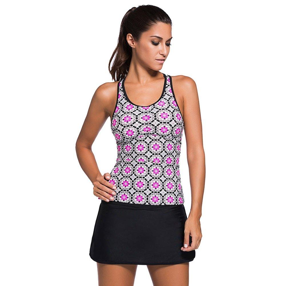 女性の 水着 大きなサイズ 水着 印刷 ハイウエスト スカート 分割 水着 に適して カジュアル 旅行 (Size : L) B07F3S9HN6 Large