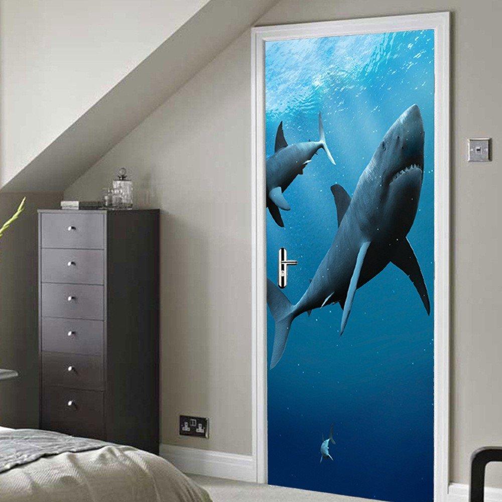 NIUXX Sticker Mural Porte Murales Requin 3D DIY Autocollant Amovible Peint Des Murales Pour Chambre Chambre Chambre Salon Porte Mural Bureau Décoration Maison77 * 200CM