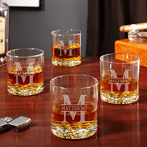 Personalized Rocks Glasses (Oakmont Personalized Buckman Whiskey Glasses, Set of 4 (Custom)