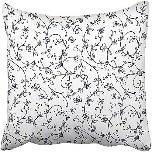 Cross Two Leaf - Shicongtai Throw Pillow Covers 18 x 18 Inches White Floral Vintage Nature Spiral Vine Flower Leaf Pattern Asian Cross Asia East Pillow Case Decorative Cushion Cover Two Sides Print Pillowcase
