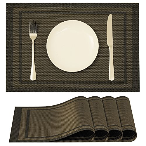 Plain Jane Placemats Woven Vinyl Non-slip Insulation Washable Placemat for Dining & Kitchen, Set of 4.