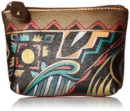 Anuschka Women's Leather Coin Purse | Genuine Soft Leather | Hand-painted Original Art | Antique Aztec - Coin Antique Purse