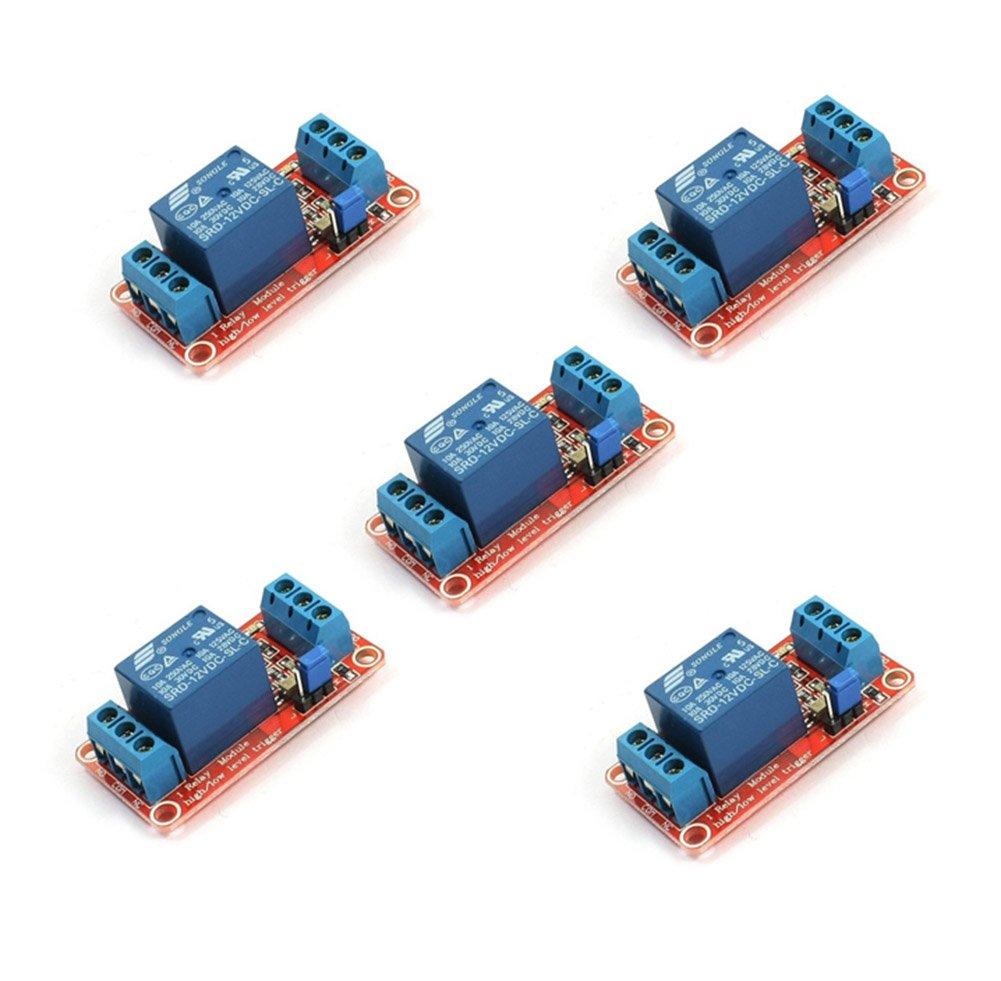 5x Demarkt 1-Kanal Relaismodul DC IN 5V Relaismodul mit opto-isoliertem High und Low-Trigger