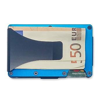 Slim Wallet Bolsillo Delantero Portatarjetas de crédito y Titular de Billetes con protección RFID Cartera Minimalista para EDC con Clip de Dinero de Acero ...