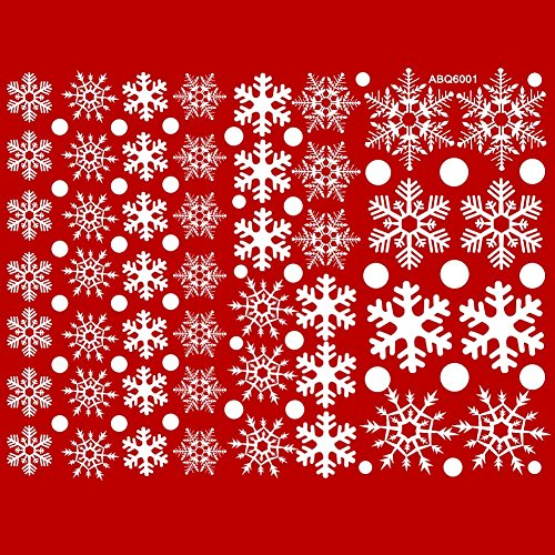 OurWarm 240pcs Christmas Snowflake Window Clings White Glueless Christmas Snowflake Winter Sticker for Christmas Decorations