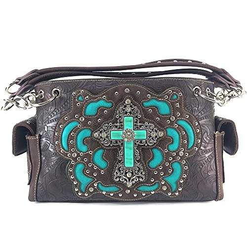 Justin West Western Rhinestone Cross Weaved Leather Laser Cut Floral Design Chain Shoulder Back Conceal Carry Handbag Purse with Flat Wallet (Brown Purse Only)