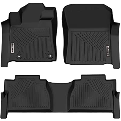 oEdRo Floor Mats Compatible for Toyota Tundra 2014-2020 Double Cab/Crew Max Cab, Unique Black TPE All-Weather Guard Includes 1st and 2nd Row: Front, Rear, Full Set Liners: Automotive [5Bkhe2006790]