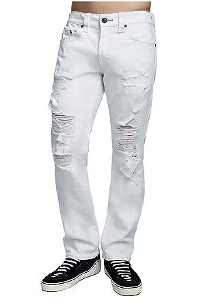 bce7bdafa True Religion Men s Distressed Super T Ricky Straight Jeans w Rips in White  Volcanic Ash
