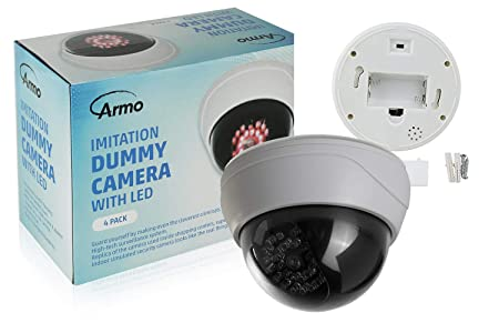 Fake Security Camera 4 Pack CCTV Fake Dome Camera with Realistic Look Recording Red LED Light Indoor and Outdoor Use, for Homes Business- by Armo