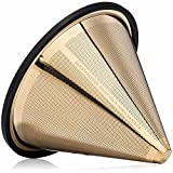 TITANIUM COATED GOLD Pour Over Coffee Filter - Reusable Stainless Steel Drip Cone for Chemex, Hario V60, Carafes and Other Coffee Makers