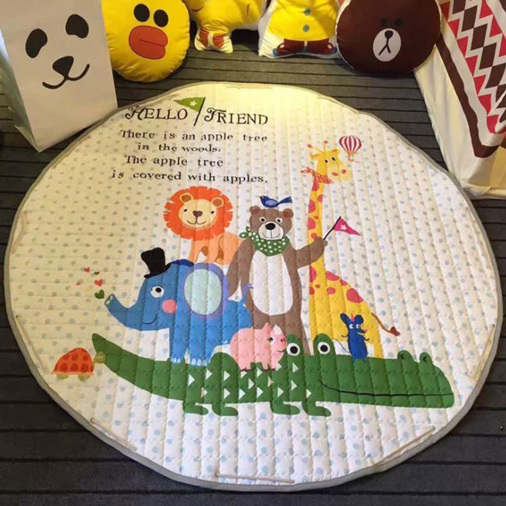 Bolsa de almacenamiento de juguetes Bebé grande Alfombras de bebé Alfombras redondas portátiles Juego de niños,58x58 inch