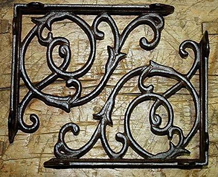 6 Cast Iron Antique Style LARGE IVY SCROLL Brackets Garden Braces Shelf Bracket