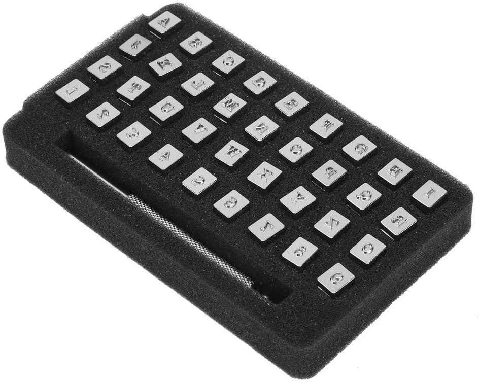 3.5mm 36pcs 13mm Metal Leather Stamp Set Punch Vintage Design Alphabet 26 Letters /& 10 Numbers Punch DIY Leathercraft Tool