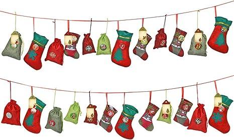 Adventskalender Weihnachtskalender Kalender mit 24 großen Taschen aus Filz