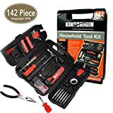 KIngOrigin 142 Piece Professional Multi-Tool Kit home repair tool kit tool kit, Home Repair Tool Kit, General Household Tool Kit for Home Maintenance with Plastic Toolbox Storage Case