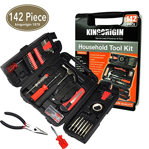 (KIngOrigin 142 Piece Professional Multi-Tool Kit home repair tool kit tool kit, Home Repair Tool Kit, General Household Tool Kit for Home Maintenance with Plastic Toolbox Storage Case)