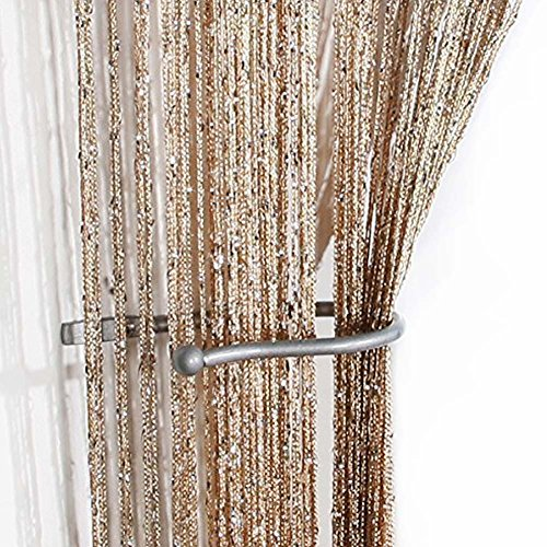 AIZESI 35IN x78.5IN Gold/Silver Fleck Spaghetti String Door/Curtain Panel 38