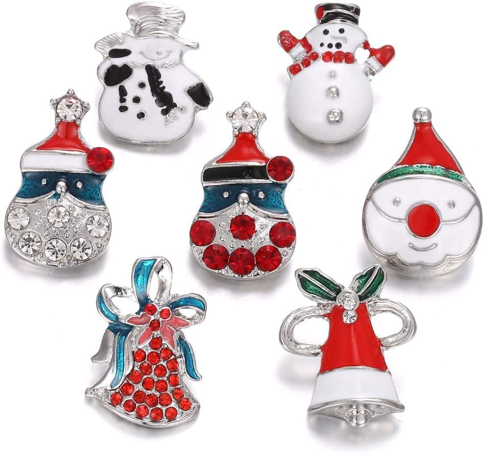 Lovglisten New 20pcs Mix Christmas Style 18-20mm Snap Buttons Jewelry fit Snap Bracelet Bangles Necklace