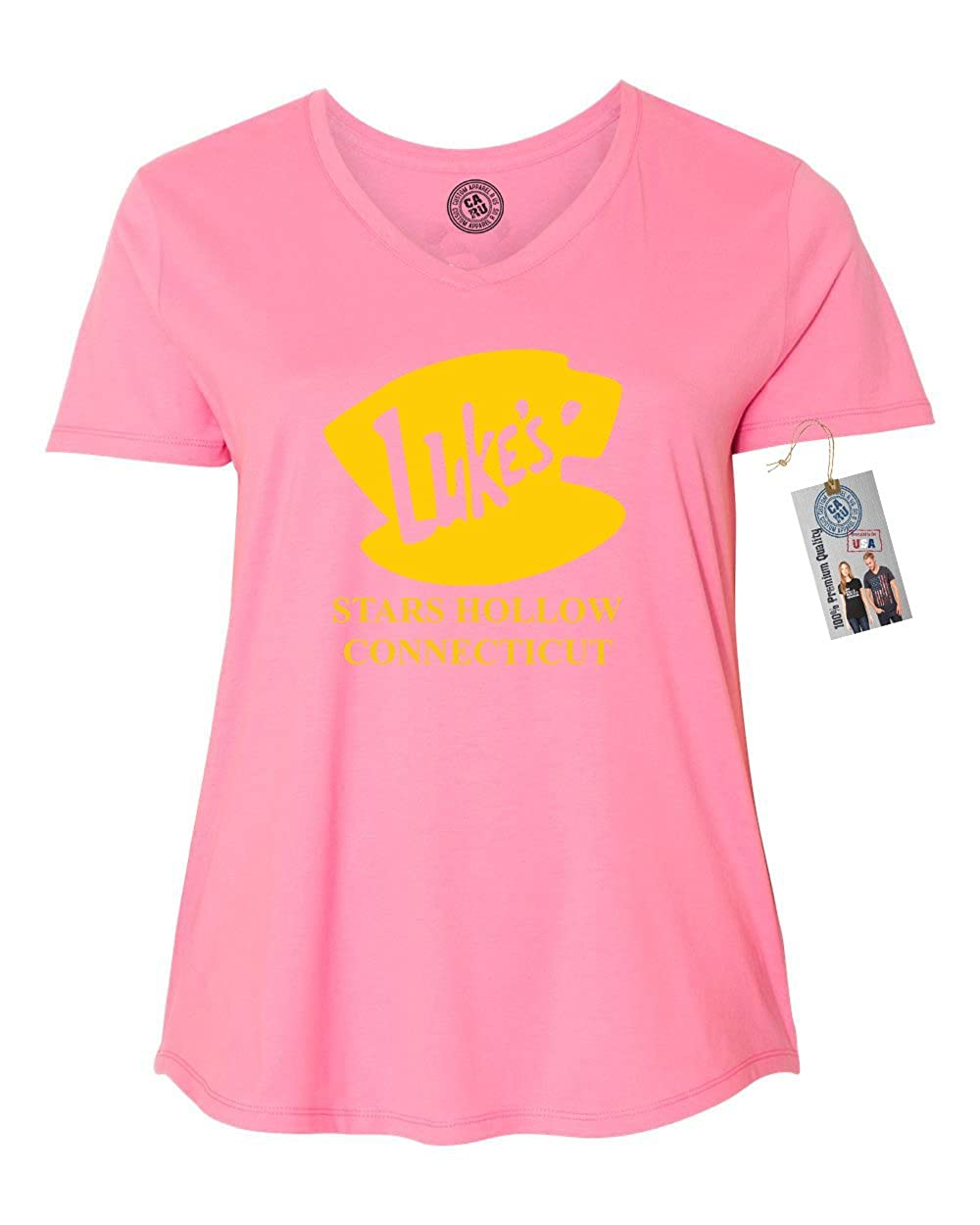 10b09fd9b Amazon.com: Luke's Diner Stars Hollow CT Gilmore Girls Plus Size Womens V  Neck T-Shirt Top: Clothing