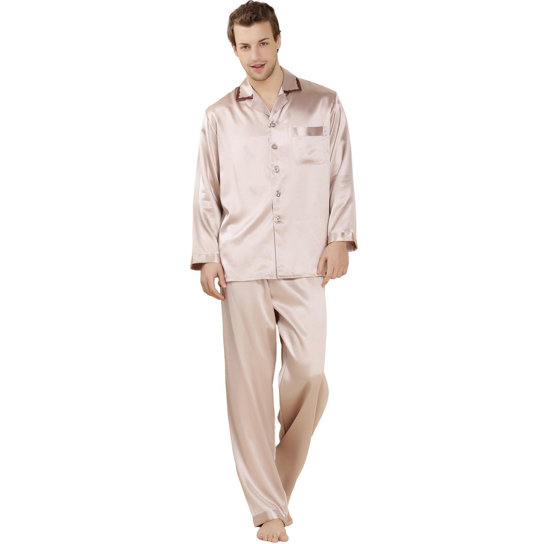 LoveSilk Men's 19 mm Silk Pajamas Luxury Sleepwear Gift Cognac Size M