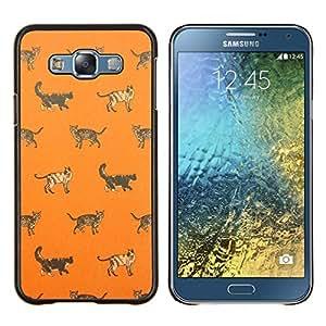 KLONGSHOP // Cubierta de piel con cierre a presión Shell trasero duro de goma Protección Caso - casa gatito gato naranja patrón lindo - Samsung Galaxy E7 E700 //