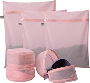 Kimmama Delicates Laundry Bags, Bra Fine Mesh Wash Bag for Underwear, Lingerie, Bra, Pantyhose, Sock, Shoe, Use Automatic Locking Zipper, Travel Organizer Net Bags