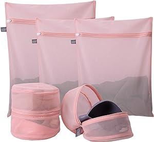 Kimmama Delicates Laundry Bags, Bra Fine Mesh Wash Bag for Underwear, Lingerie, Bra, Pantyhose, Sock, Shoe, Use Automatic Locking Zipper, Travel Organizer Net Bags