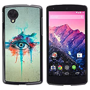 Qstar Arte & diseño plástico duro Fundas Cover Cubre Hard Case Cover para LG Google NEXUS 5 / E980 /D820 / D821 ( Watercolor Painting Eye Art Blue Drawing)