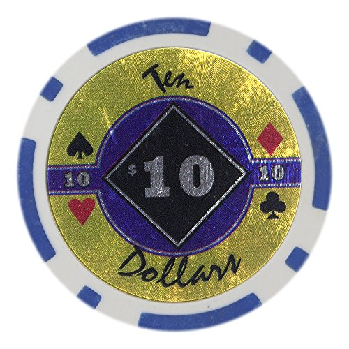 Composite Diamond Poker Chips Clay (Brybelly Black Diamond Poker Chip Heavyweight 14-gram Clay Composite – Pack of 50 ($10 Blue))