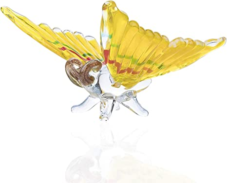 Amazon Com Crystalsuncatcher Blown Glass Figurine Art Yellow Hanging Butterfly Ornament Home Kitchen