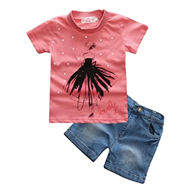 53d5ab35f0 Kids Tales 1Set Little Girls Short Top Clothes+Jeans Pants Shorts Suit  Outfit