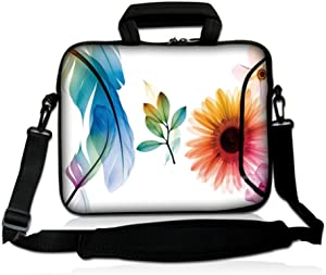 LSS 17 17.3 inch Laptop Sleeve Bag Compatible with Acer, Asus, Dell, HP, Sony, MacBook and More | Carrying Case Pouch w/Handle & Adjustable Shoulder Strap,Daisy Flower Leaves Floral